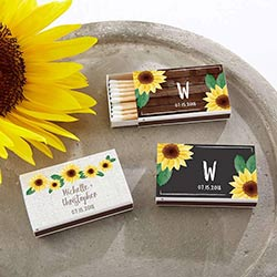 Personalized White Matchboxes - Sunflower (Set of 50)