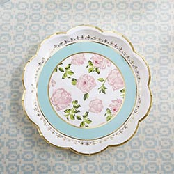 Tea Time Whimsy 9 in. Paper Plates - Blue (Set of 8)