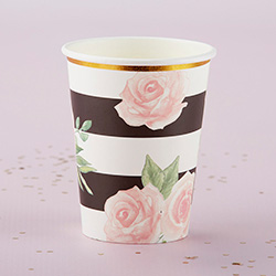 Floral Striped 8 oz. Paper Cups (Set of 8)