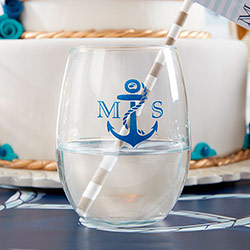 Personalized 9 oz Stemless Wine Glass - Kates Nautical Wedding Collection